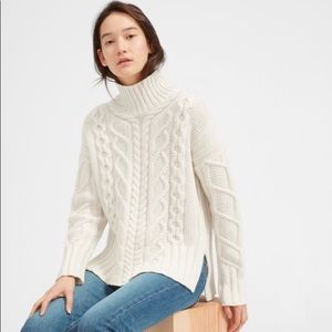 Everlane wool cashmere cable turtleneck sweater